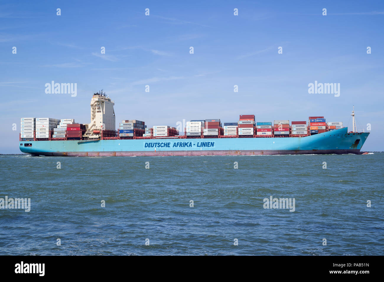 DAL KALAHARI inbound Rotterdam. Deutsche Afrika-Linien operates liner services to Southern Africa, East Africa and the Islands of the Indian Ocean. - Stock Image