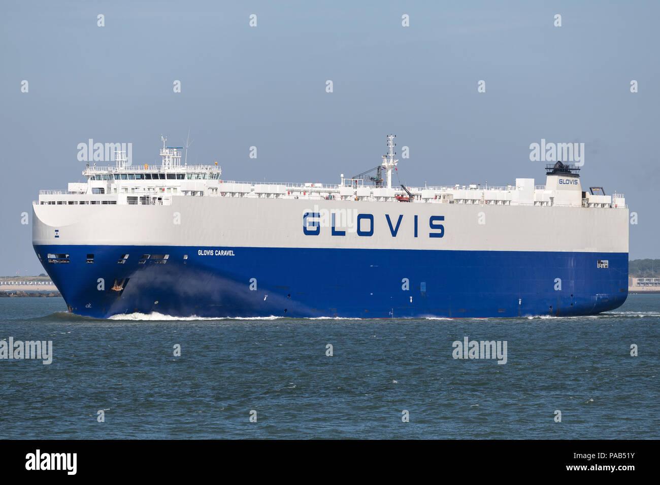 GLOVIS CARAVEL oubound Rotterdam. Hyundai Glovis is a logistics company headquartered in Seoul, Korea and part of the Hyundai Kia Automotive Group. - Stock Image