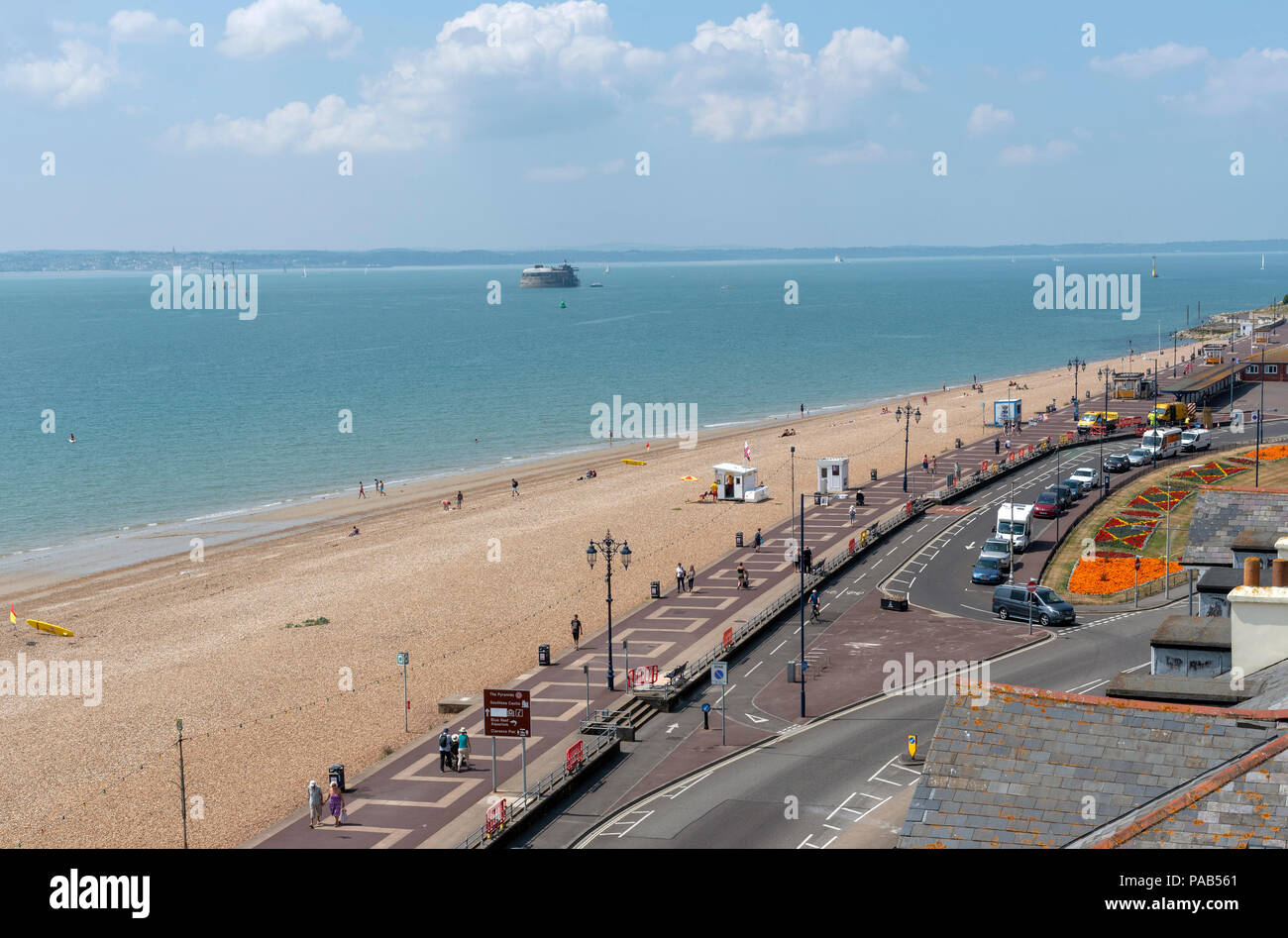 Southsea, Portsmouth, southern England, UK An overview of the seafront on South Parade in Southsea with the Isle of Wight in the background - Stock Image