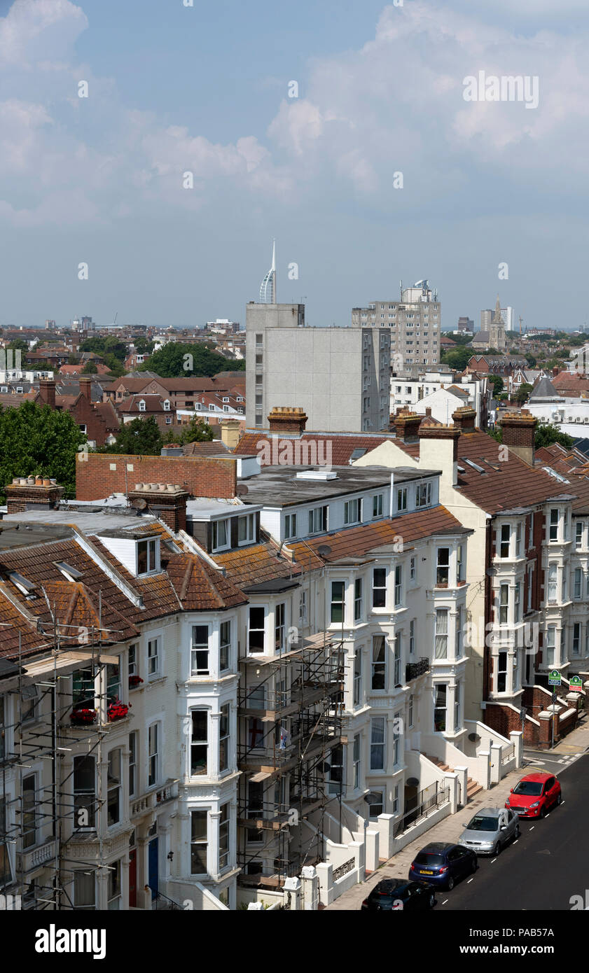 Southsea, Portsmouth, southern England UK. Homes having been refurbished and housing being further developed in Southsea. - Stock Image