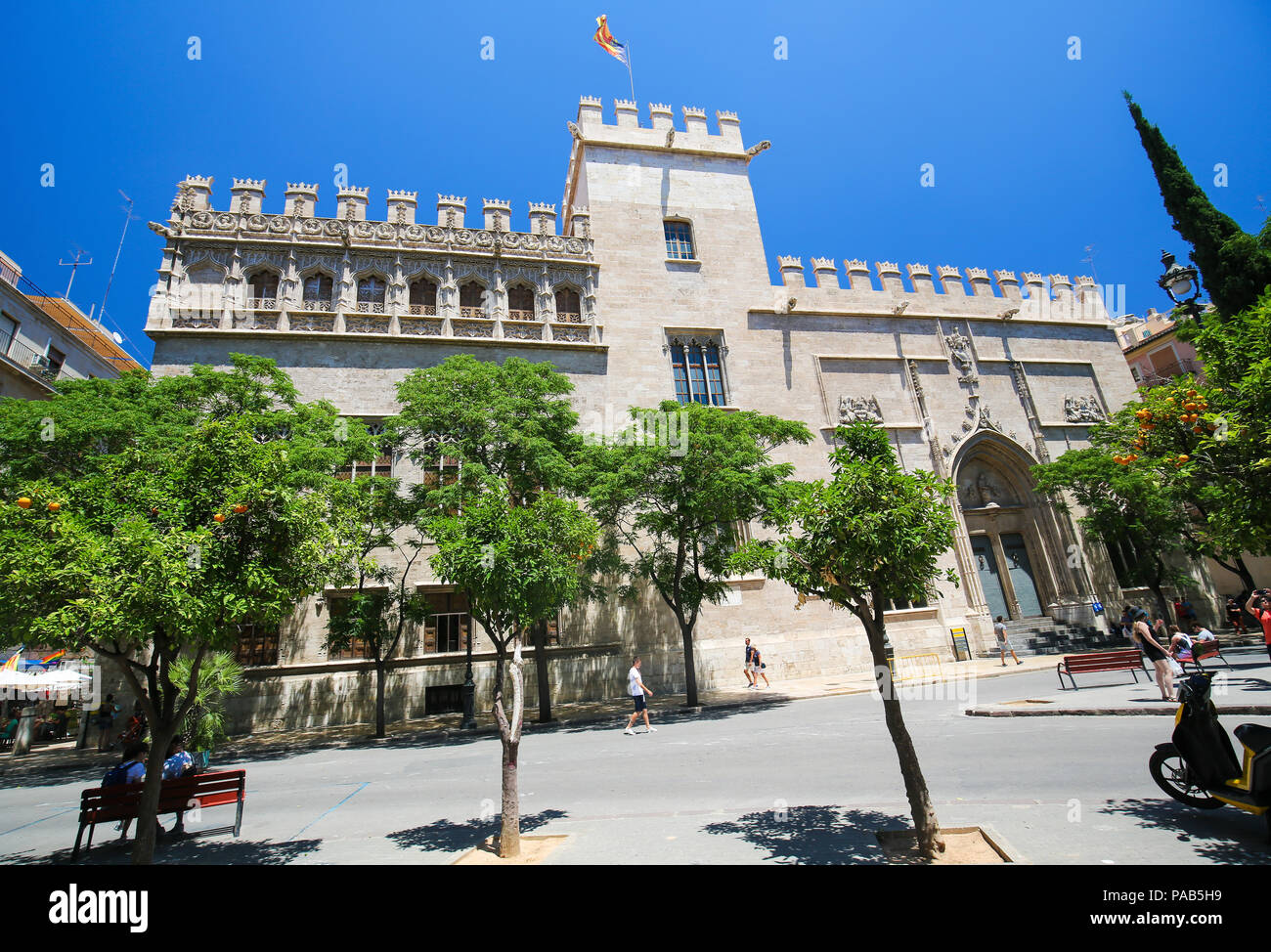 Llotja de la Seda or Silk Exchange, an emblematic late Valencian Gothic-style civil building in the center of Valencia, Spain Stock Photo