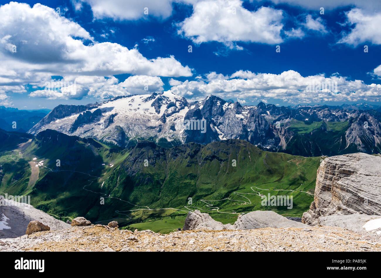 Marmolada massif, Dolomiti, Itay. Beautiful view over the Marmolada glacier and Pordoi Pass from gruppo Sella and Piz Boe peak - Stock Image