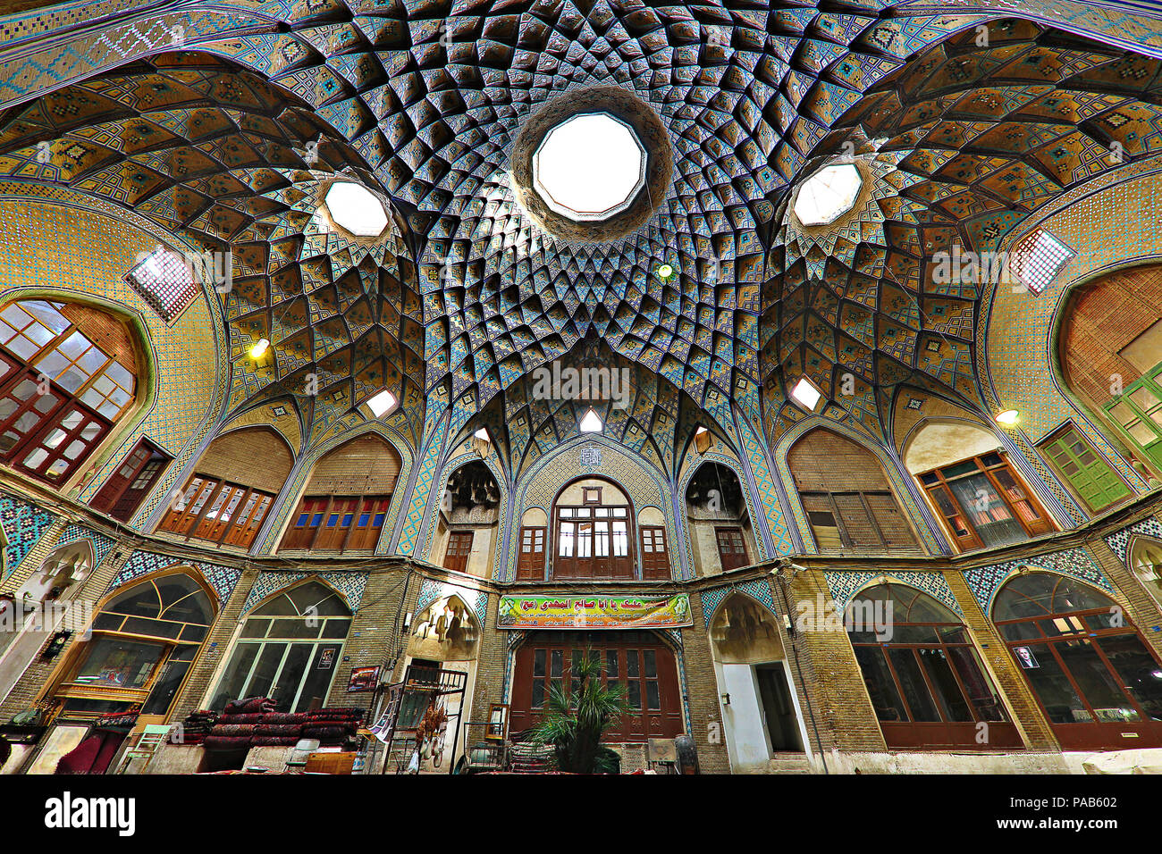 Interior of the ancient bazaar in Kashan, Iran. The bazaar was built in the 13th century and restored in the 19th cent - Stock Image