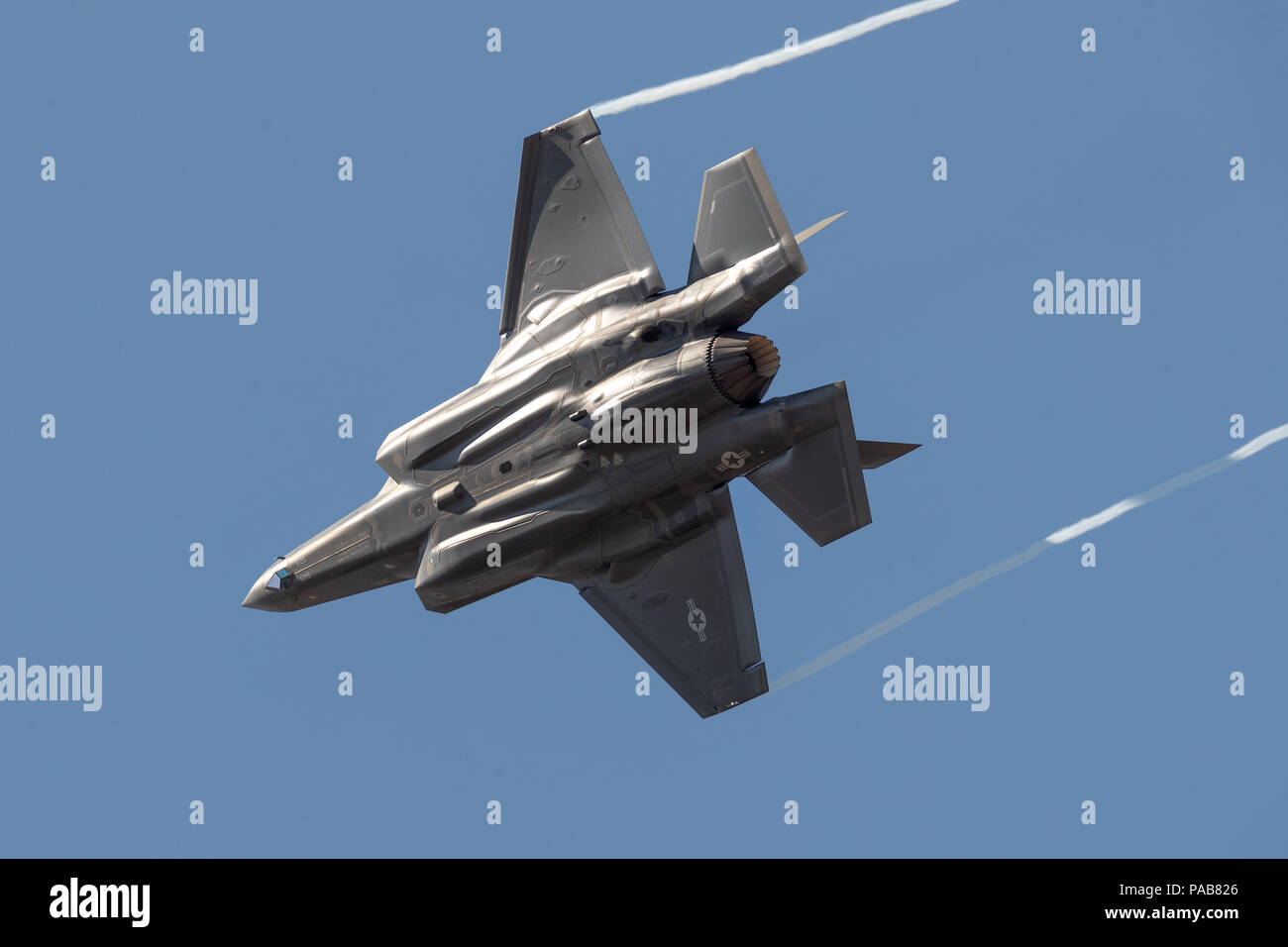 US air force F35A performing at RIAT 2018 - Stock Image