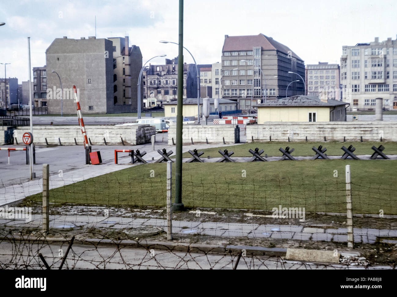 1960s view from East Berlin over Berlin Wall with Czech hedgehog barriers to West Berlin, Germany. Digital conversion of slide taken in 1964 - Stock Image