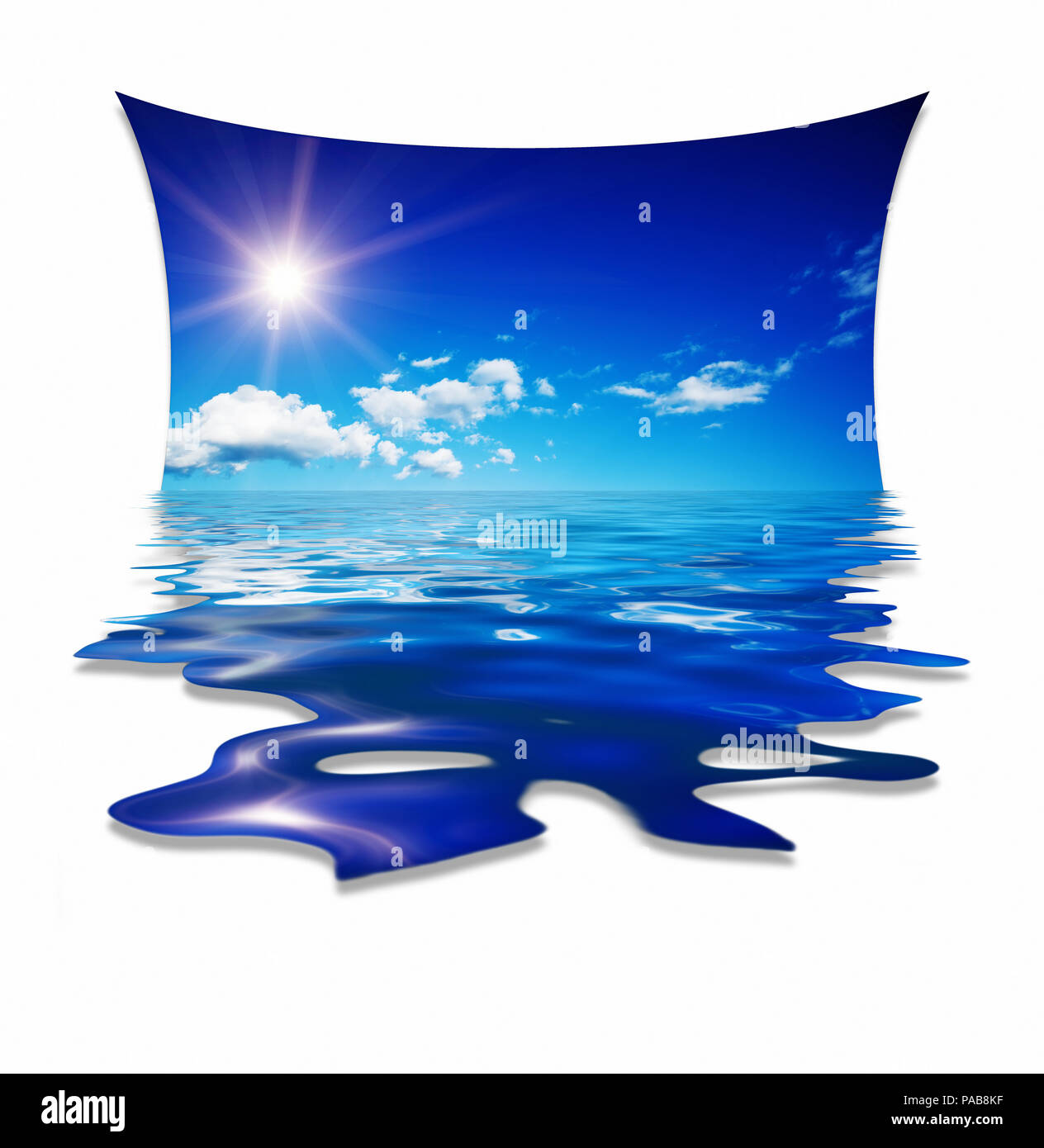 An illustration of a nice blue sky water design - Stock Image