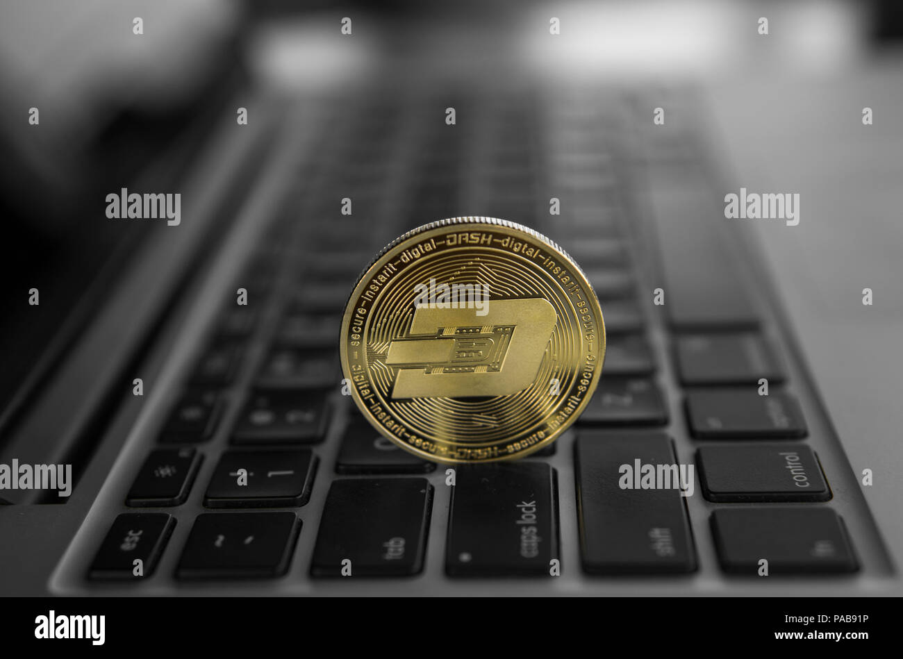 Dash coin symbol on laptop. Concept financial currency, crypto currency sign. Blockchain mining. Digital money and virtual cryptocurrency concept. Bussiness, commercial. - Stock Image