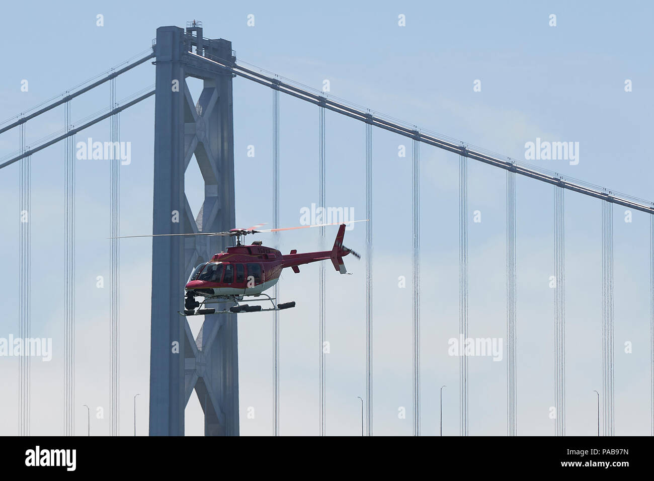 News Helicopter Flying Past The San Francisco-Oakland Bay