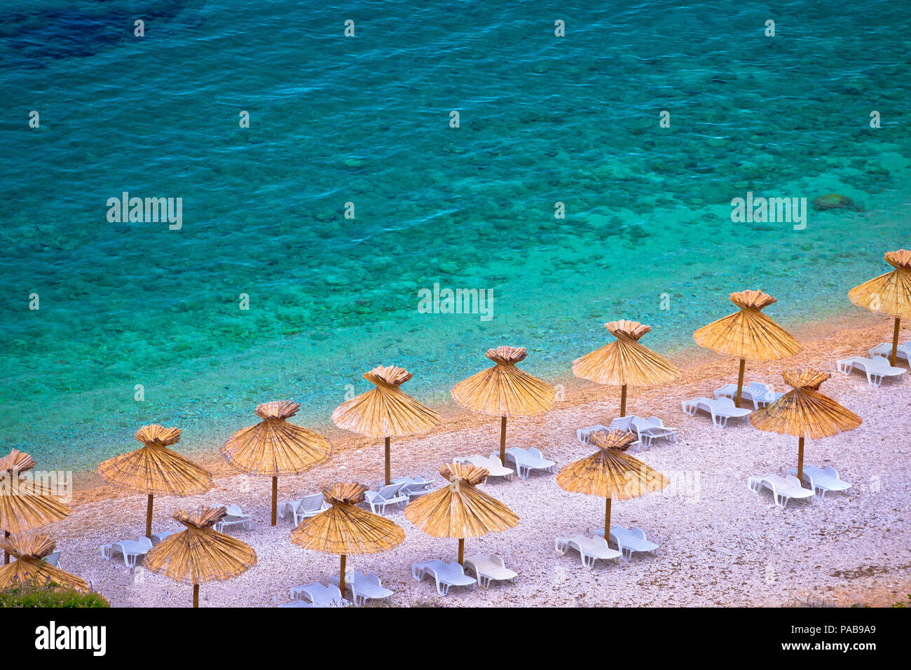 Island of Krk beach at Stara Baska aerial view, archipelago of Kvrner, Croatia - Stock Image