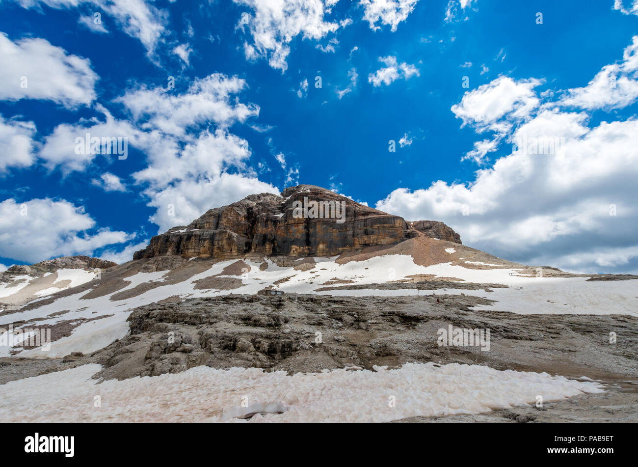 Piz Boe peak, 3152 m, in Sella massif, Dolomiti, Italy. View of rocky landscape from the hiking path. - Stock Image