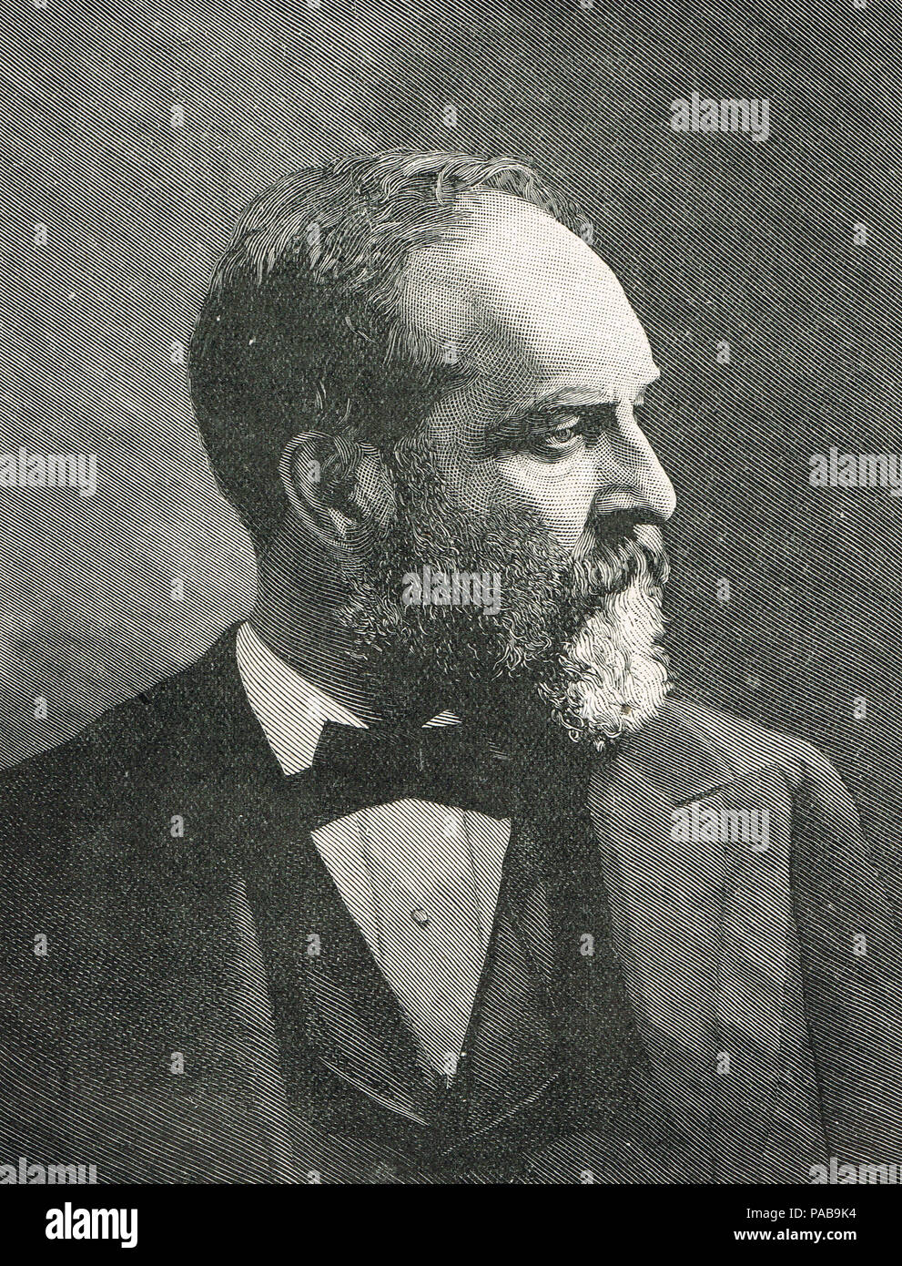 President James Abram Garfield, Circa 1870's, 20th President of the United States, assassinated On July 2, 1881 Stock Photo