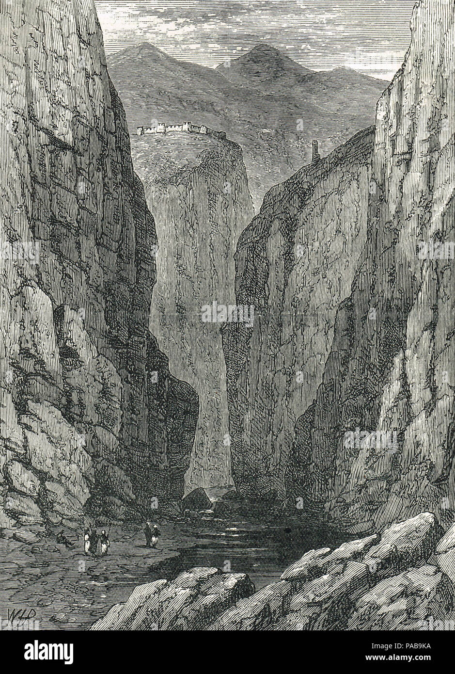 The fortress of Ali Masjid and the Khyber Pass, 1878 - Stock Image