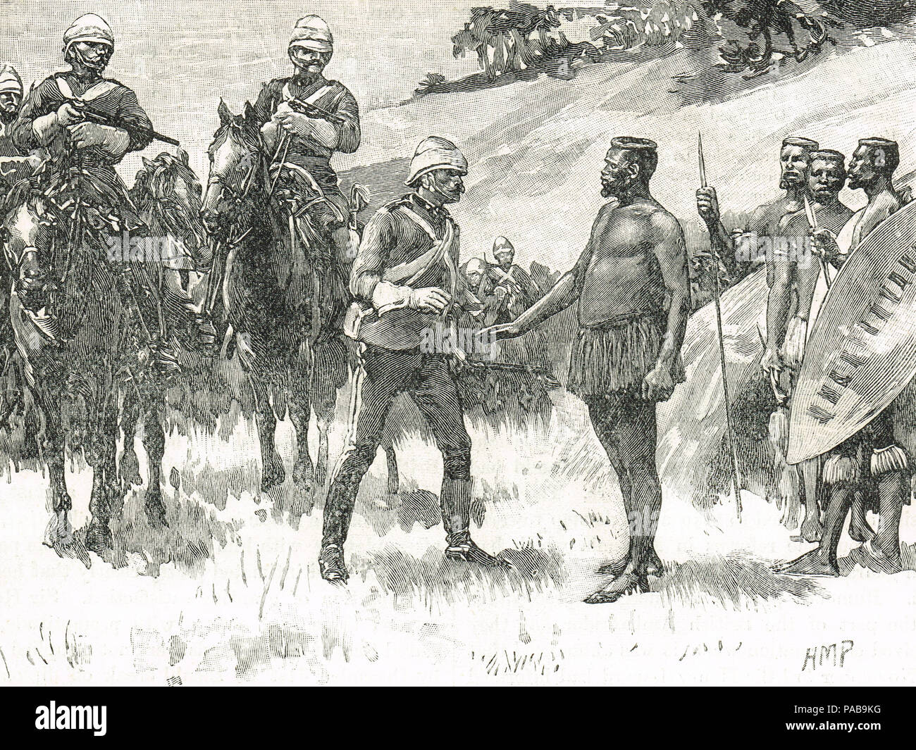 Surrender of Cetshwayo kaMpande, 29 August 1880, king of the Zulu Kingdom from 1873 to 1879, captured by soldiers under Wolseley's command at a kraal in the Ngome forest - Stock Image