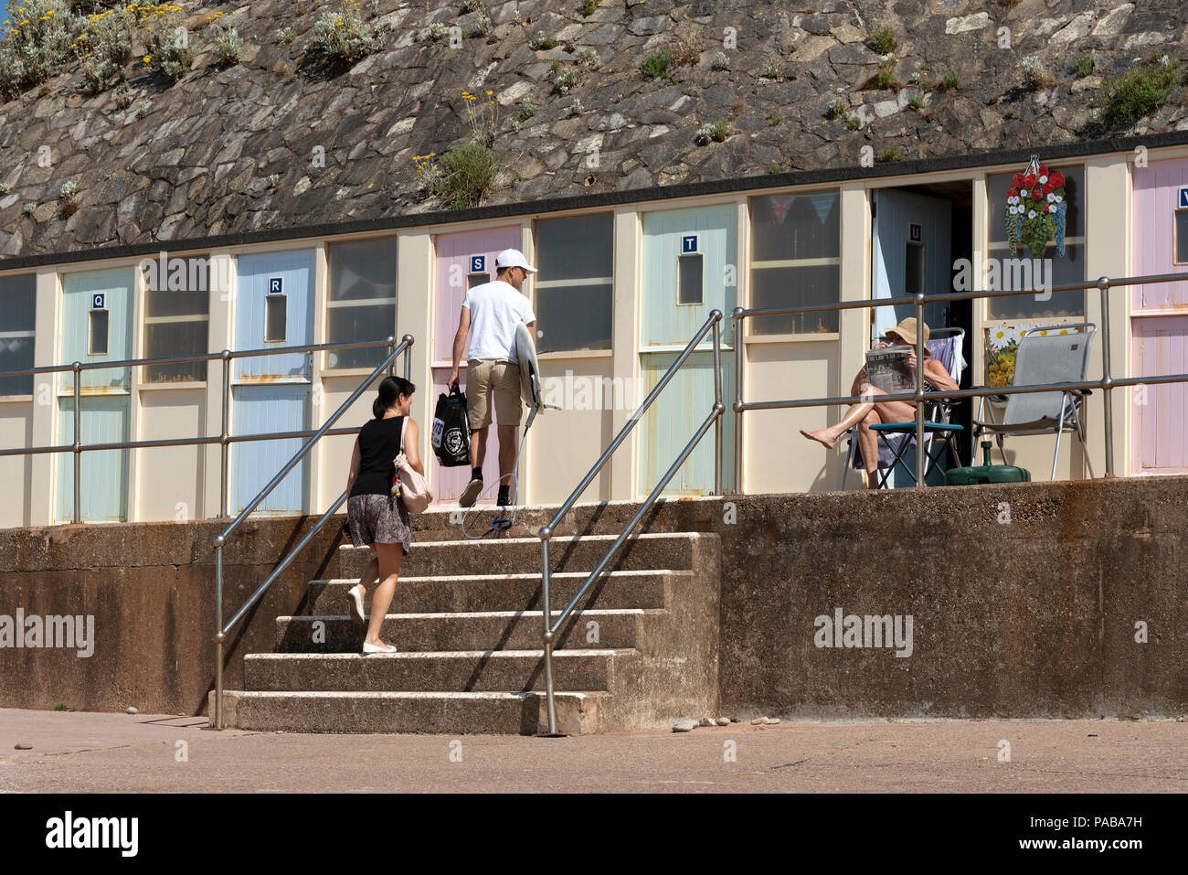 On Board Facilities Stock Photos Images Jacobs Ladder Printed Circuit Beach At Sidmouth A Seaside Resort In East Devon England Uk Changing