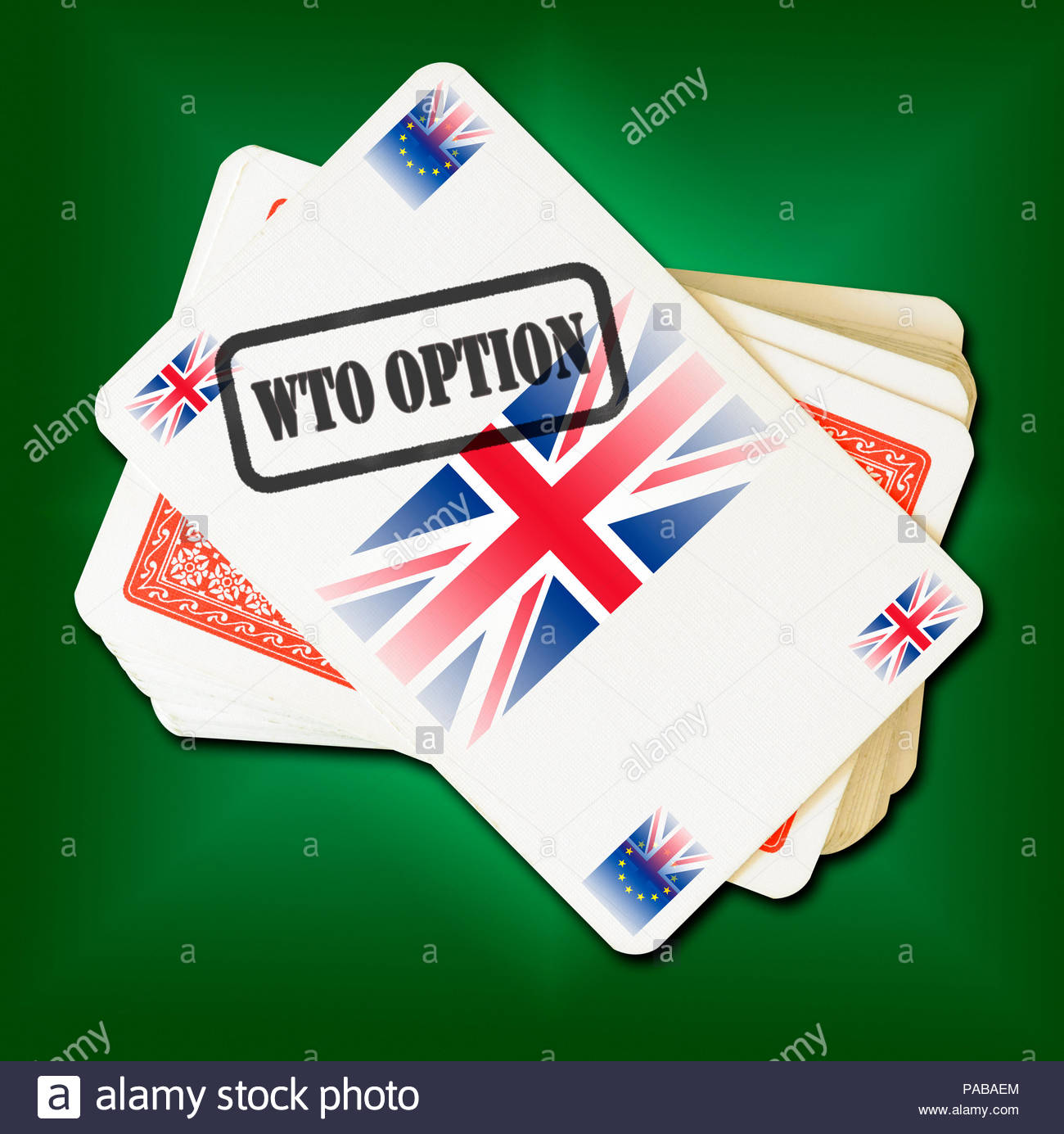Brexit WTO Option on playing card, Dorset, England, Britain, UK Stock Photo
