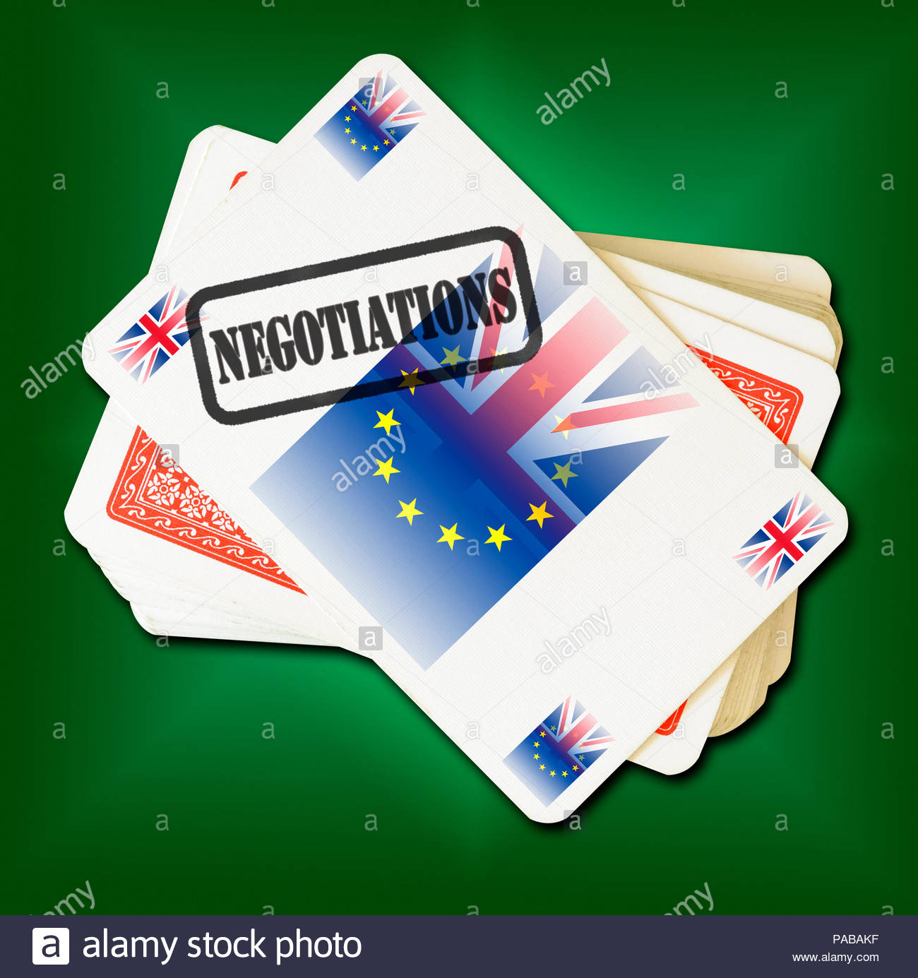Brexit Negotiations on playing card, Dorset, England, Britain, UK Stock Photo