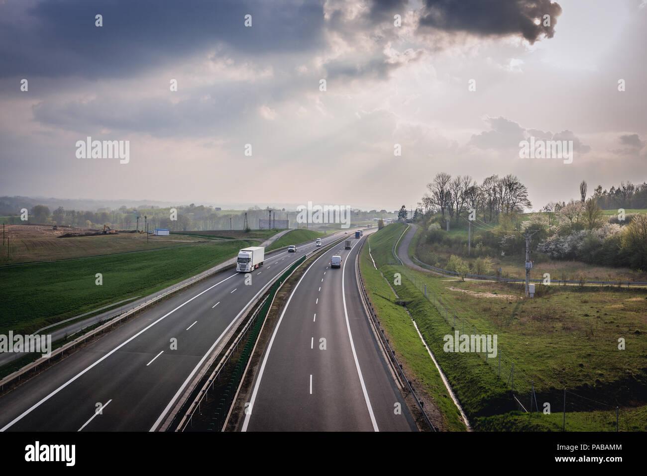 Expressway S52 near Bielsko-Biala city in Silesian Voivodeship of Poland - Stock Image