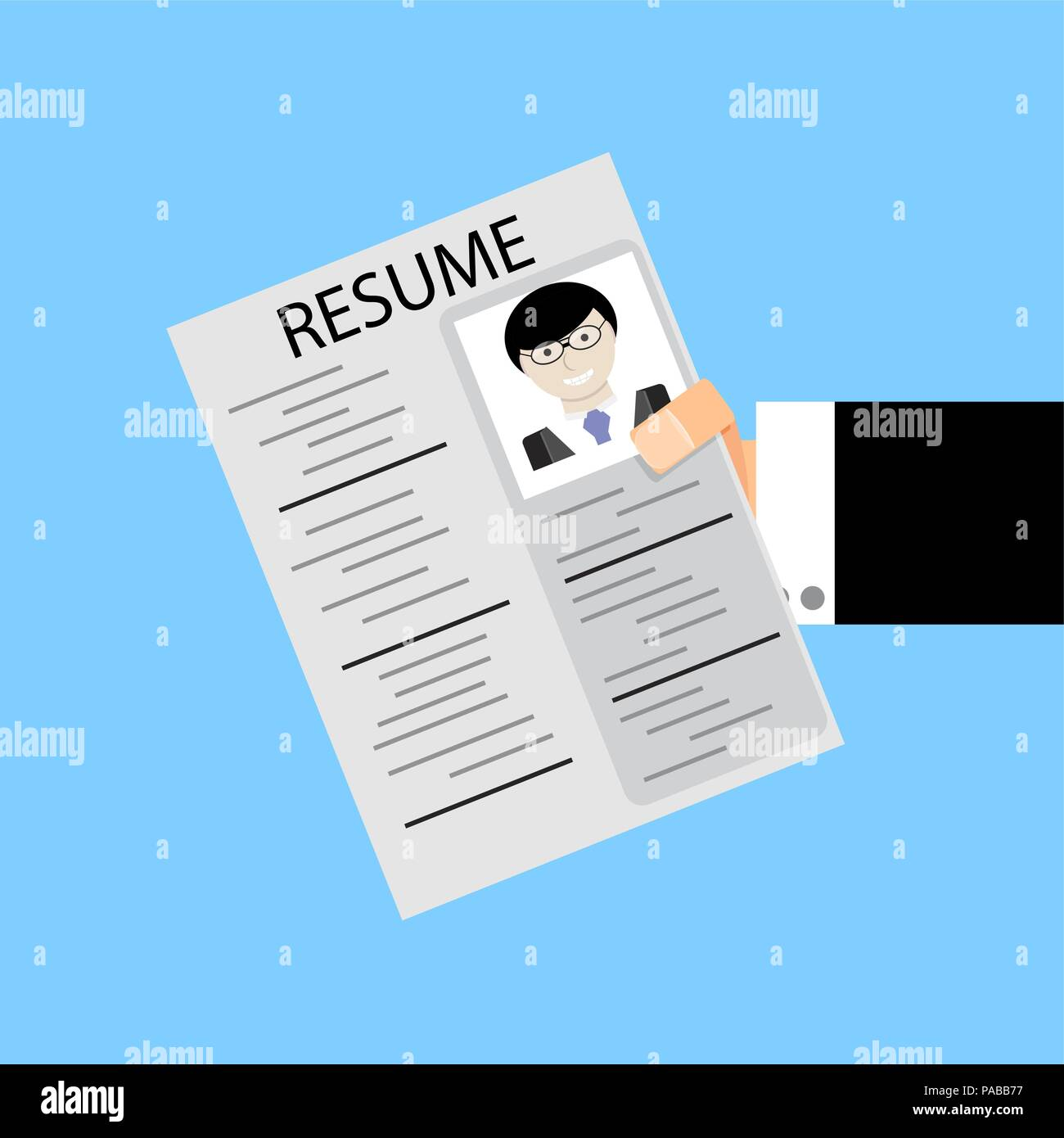 resume in human hold. search job and give cv. vector illustration