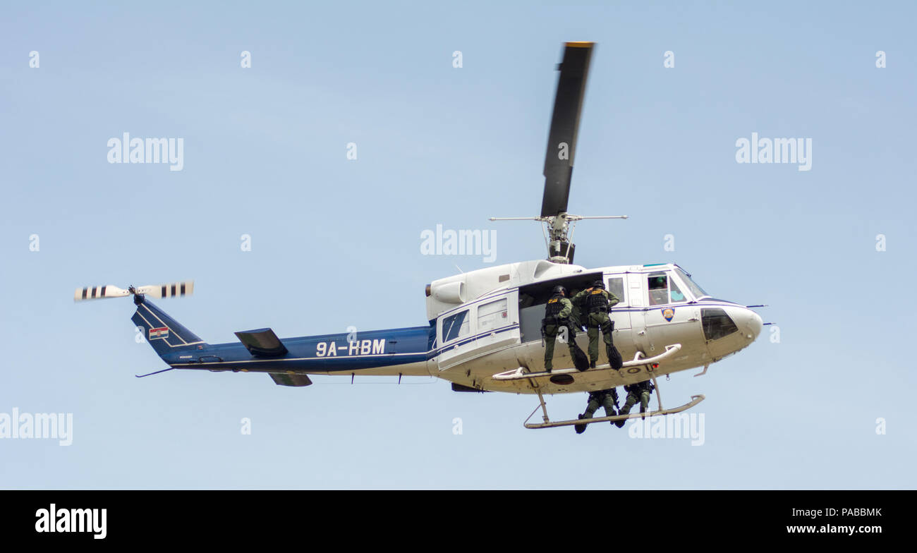 Croatian police helicopter AB 212 Stock Photo