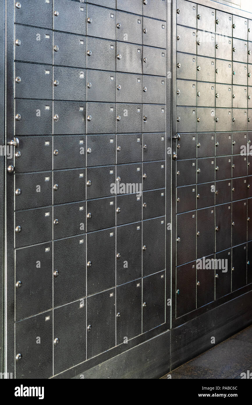 metal subscriber boxes - Stock Image