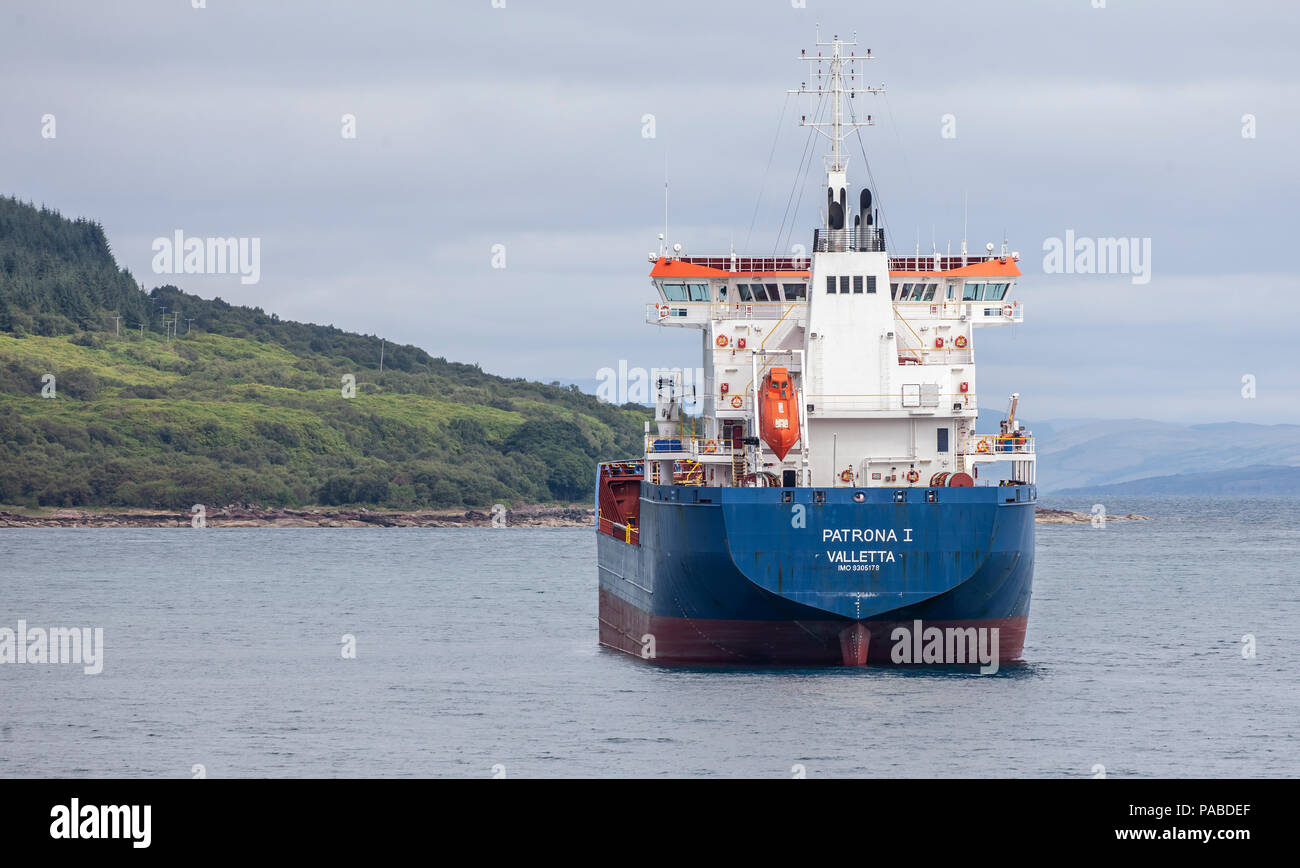 The Oil/Chemical tanker Patrona 1, owned by Harren & Partner, anchored off the Isle of Arran in the Firth of Clyde, Scotland, UK - Stock Image