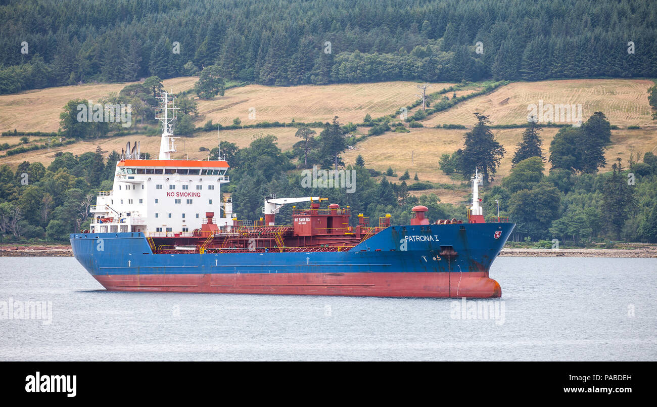 The Oil/Chemical tanker Patrona 1, owned by Harren & Partner, anchored off the Isle of Arran in the Firth of Clyde, Scotland, UK Stock Photo