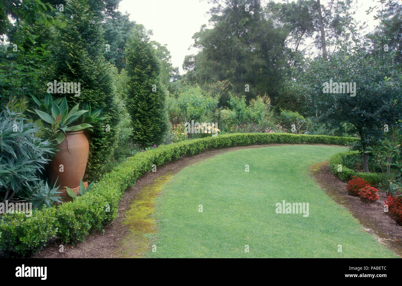 Large garden in the Blue Mountains region of Sydney, New South Wales, Australia - Stock Image