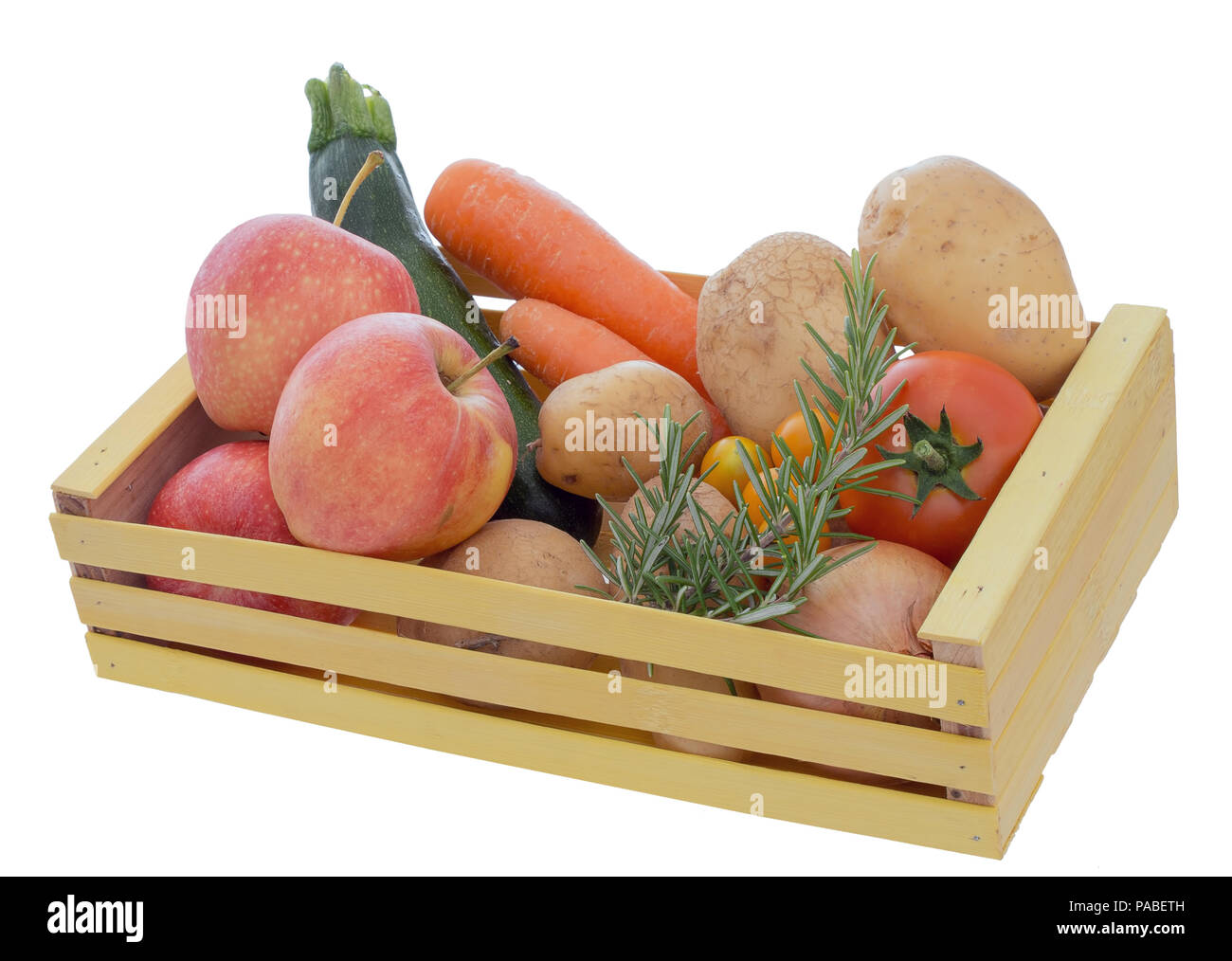 Assorted Ordinary Common Fruit And Vegetables In Wooden Box