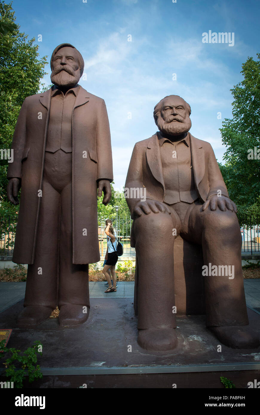 Giants Marx and Engels statues at Filmpark Babelsberg, Potsdam, Germany. - Stock Image