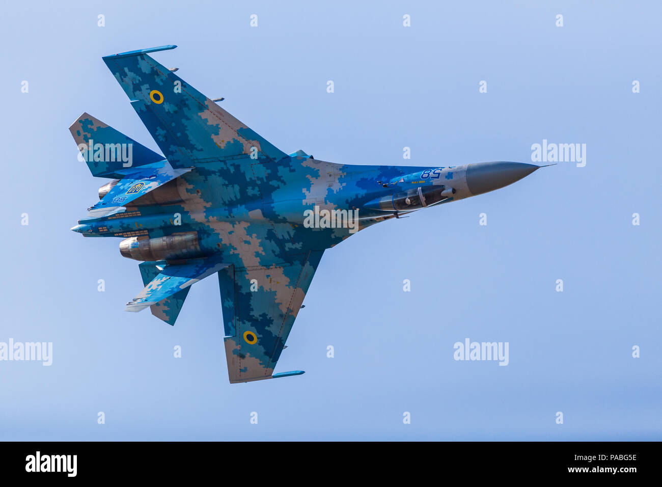 Ukrainian Air Force Su-27 Flanker pictured at the 2018 Royal International Air Tattoo at RAF Fairford in Gloucestershire. - Stock Image