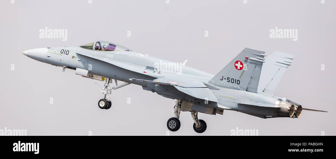 Swiss Air Force F/A-18C Hornet pictured at the 2018 Royal International Air Tattoo at RAF Fairford in Gloucestershire. - Stock Image