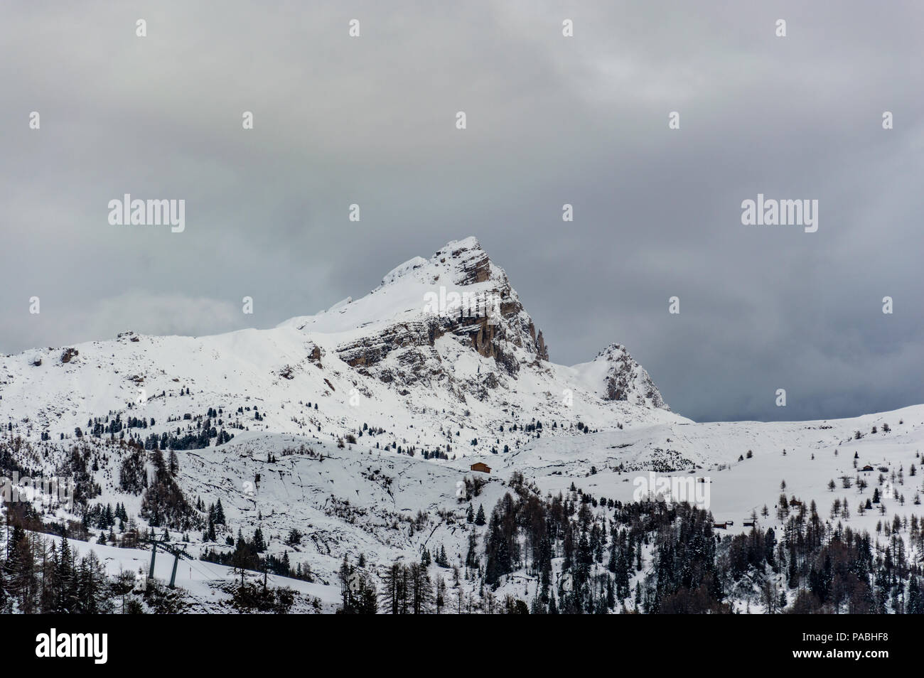 Beautiful view of the Dolomites mountains around Corvara. Alta Badia is the highest part of the Badia Valley in the Trentino Alto Adie region. Stock Photo