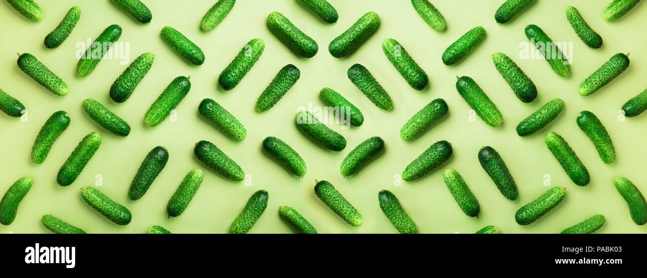 Creative pattern of fresh cucumbers on green background. Top view. Copy space. Minimal design. Banner. Vegetarian, vegan, organic food and alkaline me - Stock Image