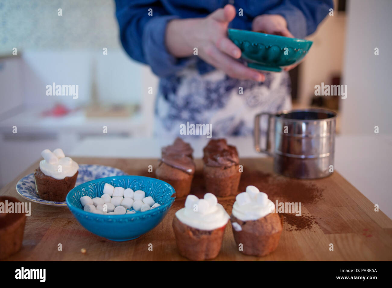 celebration cupcakes, chocolate muffins on the table - Stock Image