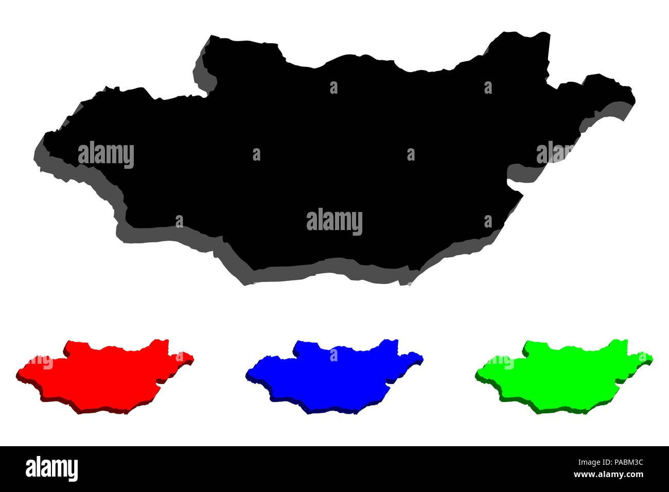 3D map of Nepal Mongolia - black, red, blue and green - vector illustration - Stock Vector