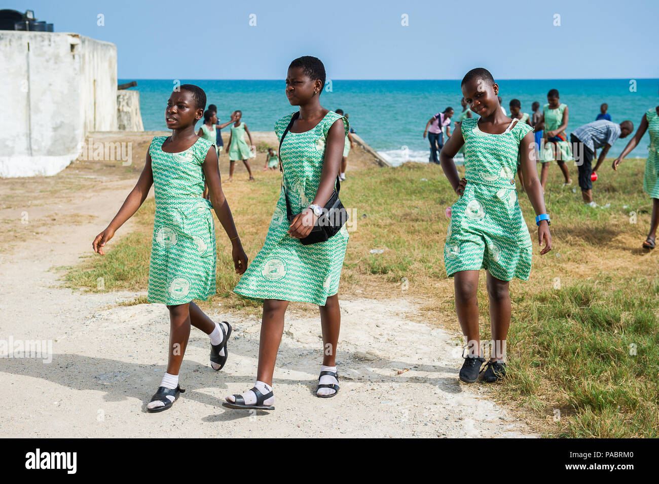 GHANA, ACCRA - MARCH 2, 2012: Students of the Saint Leo International School  came to see the Elmina Castle in Accra, Ghana, on March 2nd, 2012. Child - Stock Image