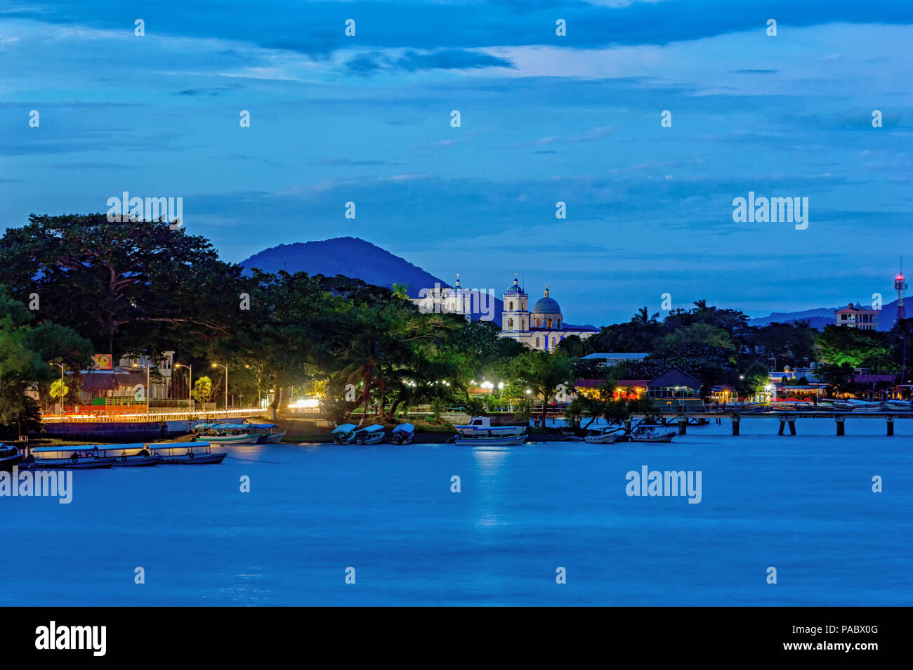 Catemaco in Veracruz, Mexico during the blue hour. - Stock Image