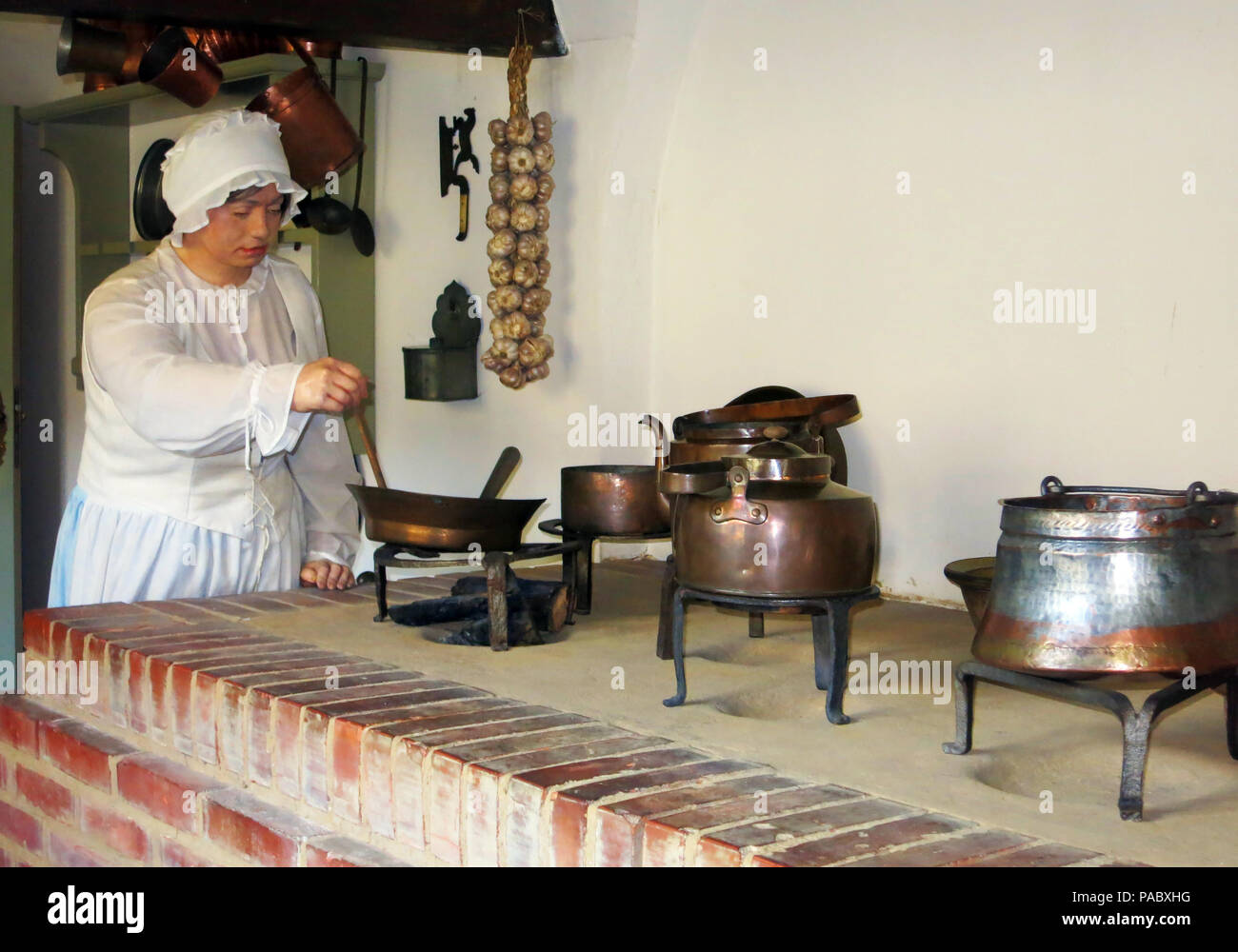 cooker in kitchen,  Uphagen's House, museum, Długa, Gdańsk, Pomerania, Poland - Stock Image