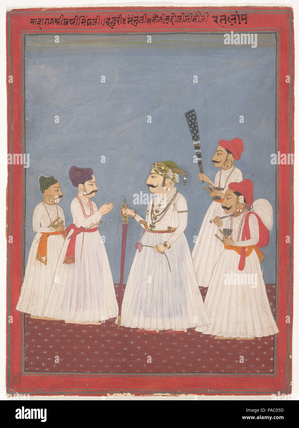 Prince with Four Attendants. Artist: Sri Prathi Singh of Ratlam (Indian). Culture: India (Rajasthan). Dimensions: Overall: 11 9/16 x 8 9/16 in. (29.4 x 21.8cm). Date: late 18th-early 19th century. Museum: Metropolitan Museum of Art, New York, USA. - Stock Image