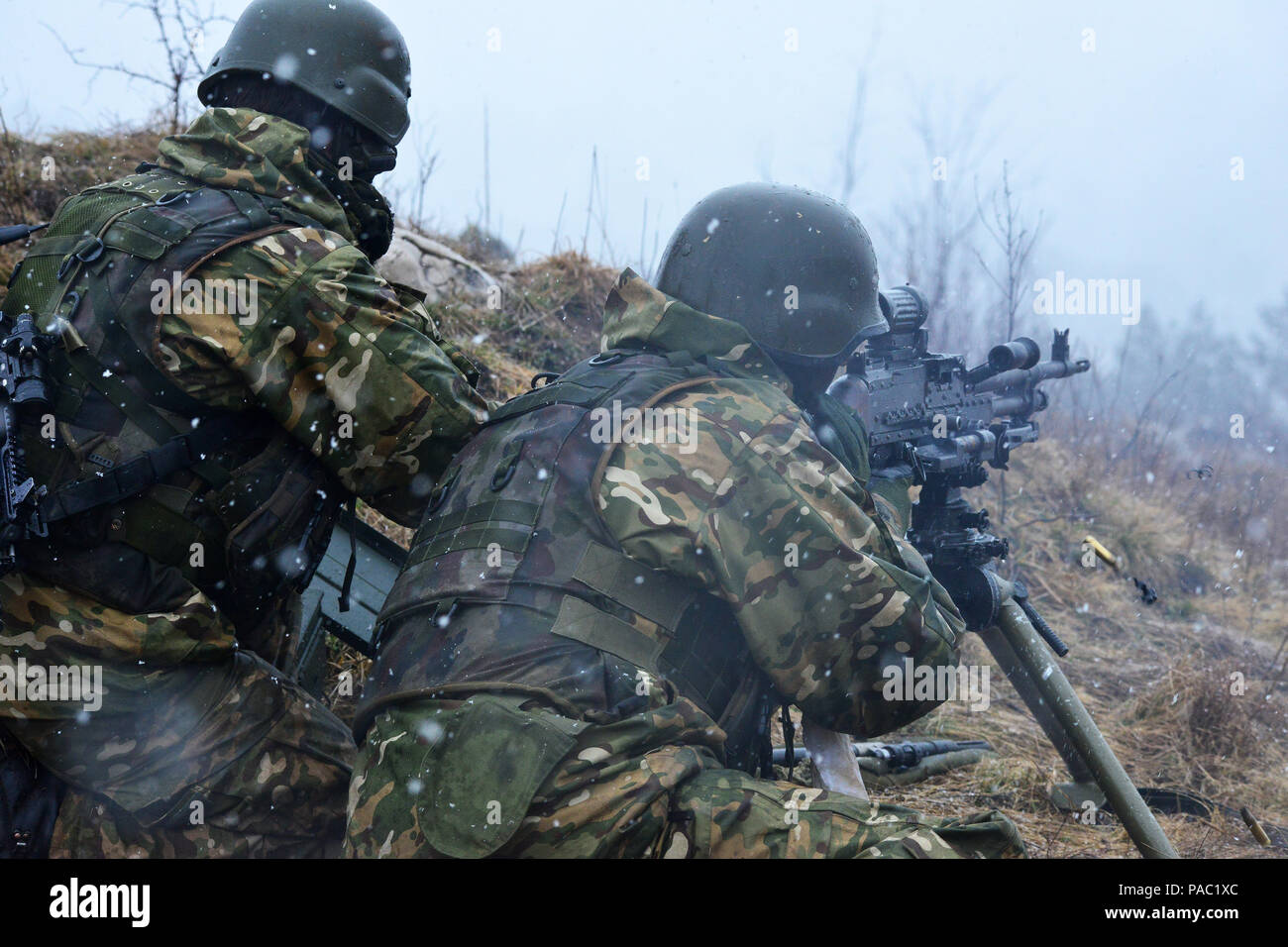Slovenian army soldiers of 10th Infantry Regiment conduct a live