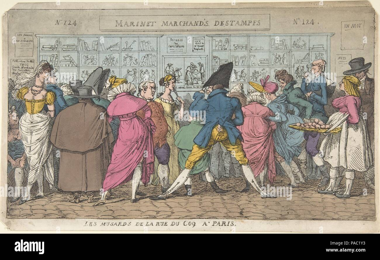 "Les Musards de la Rue du Coq à Paris (Dawdlers of the Rue Coq, Paris). Artist: Attributed to Thomas Rowlandson (British, London 1757-1827 London); After Pierre Nolasque Bergeret (French, Bordeaux 1782-1863 Paris); Once thought to be after Jean-Baptiste-François Bosio (French, Monaco 1764-1827 Paris). Dimensions: sheet: 9 1/8 x 15 1/16 in. (23.2 x 38.2 cm). Date: ca. 1810.  A crowd of people is gathered in the street outside ""Martinet Librairie"", the printshop at no. 124 rue du Coq-Saint-Honoré, Paris, trying to look at the prints and at one another. The shop has a sign that reads: ""Marinet [si Stock Photo"