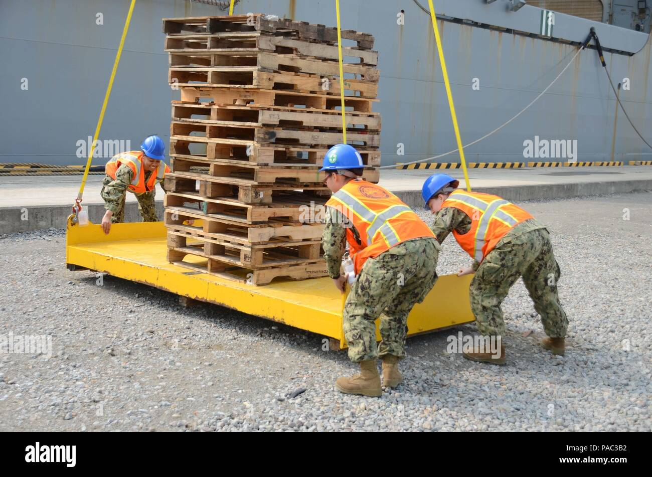 160307-N-WJ640-118 GWANGYANG, South Korea—Sailors attached to Navy Cargo Handling Battalion 1 out of Williamsburg, Va., guide a cargo platform during a training exercise on board dry cargo/ammunition ship USNS Sacagawea (T-AKE 2), March 7. The Sacagawea was one of three MPF ships that offloaded her cargo in support of Exercise Ssang Yong 16 (SY16), under the Exercise Freedom Banner 2016 (FB16) directive. FB16, a Navy and Marine Corps deployment and offload/backload exercise that is nestled within SY16, brought multiple commands together to offload Maritime Prepositioning Force ships. (U.S. Nav Stock Photo