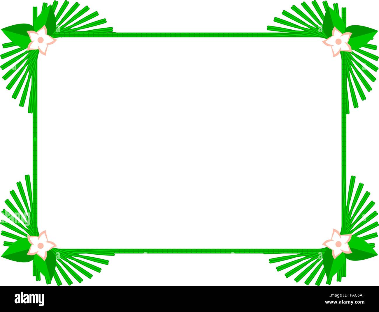 Green Square Summer Frame or Border. Vector Design Elements Set for ...