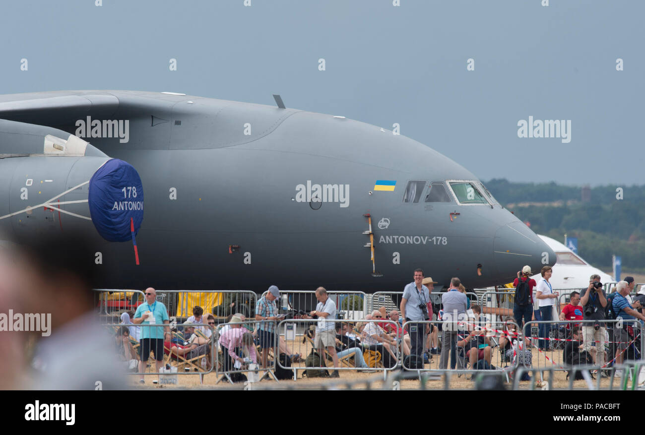 Farnborough, UK. 20 July 2018. Antonov AN-178 transport aircraft is parked for the weekend public airshow. - Stock Image