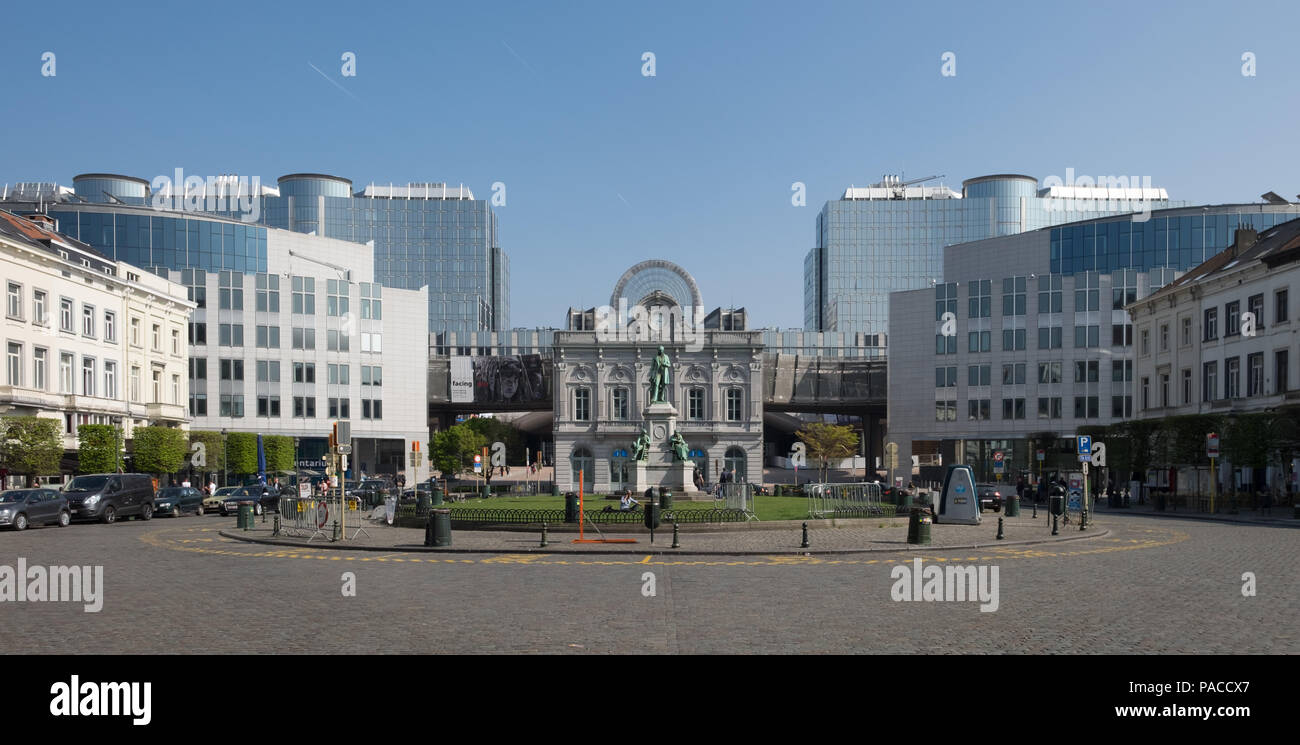 Place du Luxembourg or Luxemburgplein square in the European Quarter of Brussels - Stock Image