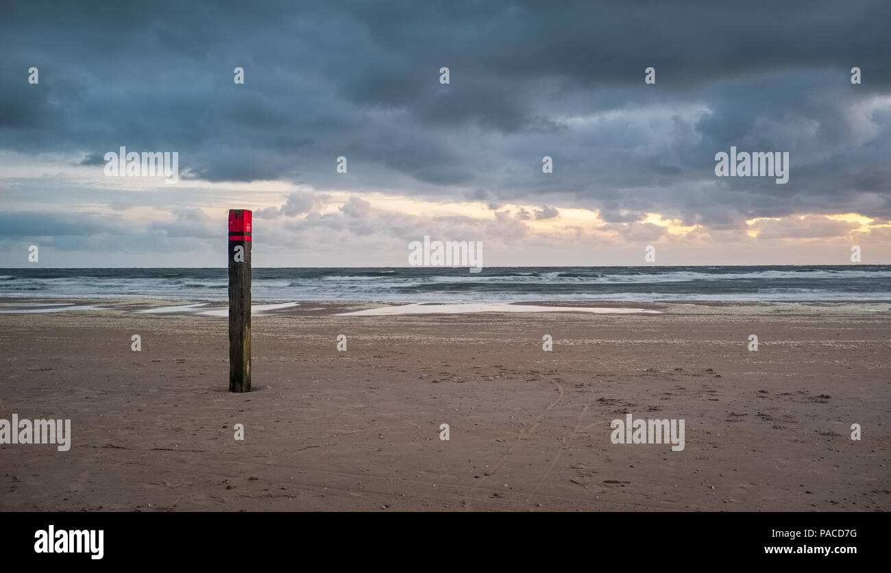 Illustration shows a beach pole typical for the beaches of Texel, on Sunday 15 May 2016, Texel, the Netherlands. Stock Photo