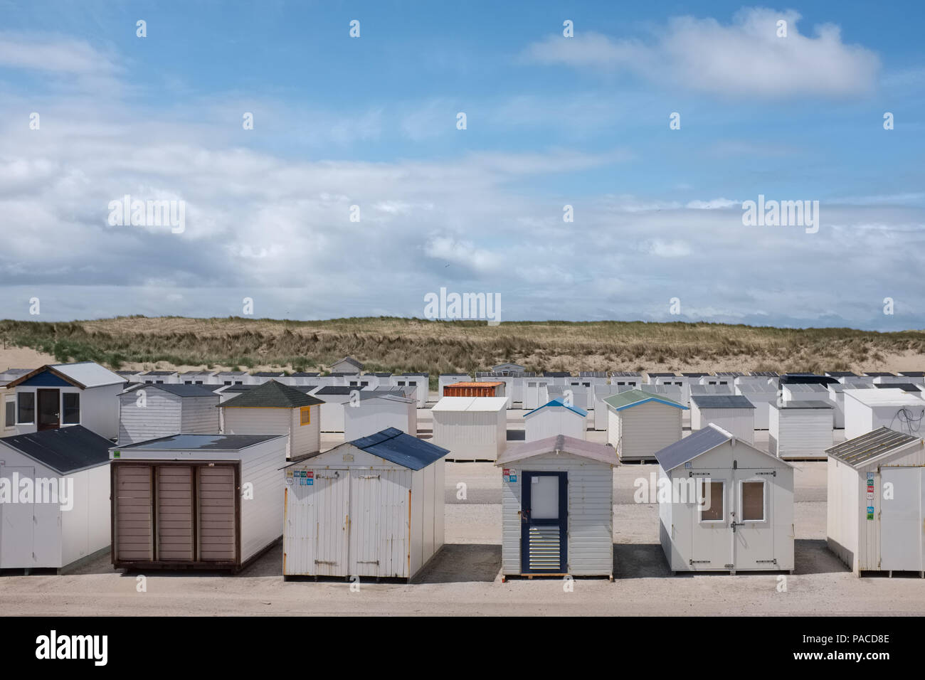 Beach houses lined up waiting for summer Stock Photo