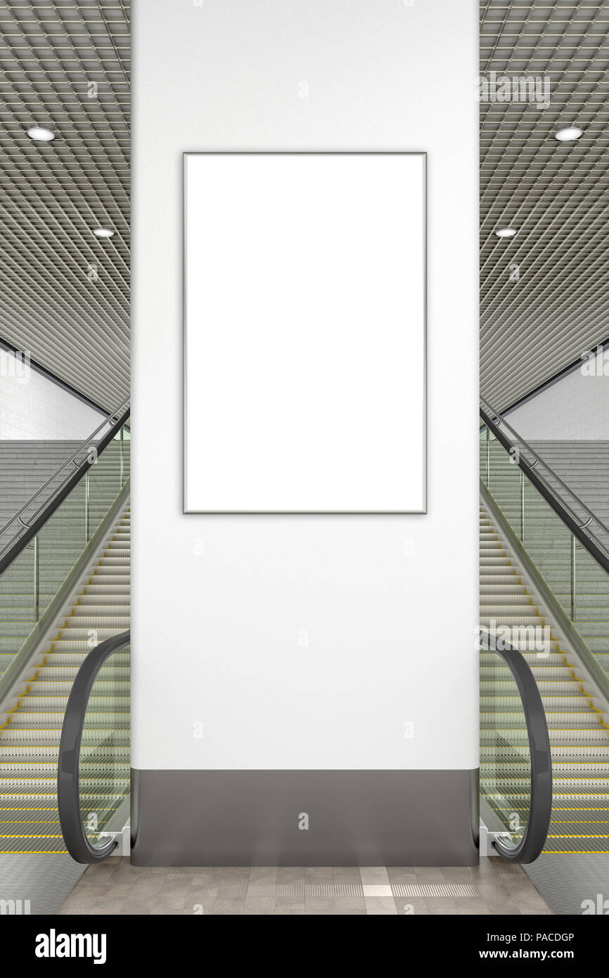 Blank advertising vertical poster mockup. Indoor or underground. 3d illustration - Stock Image