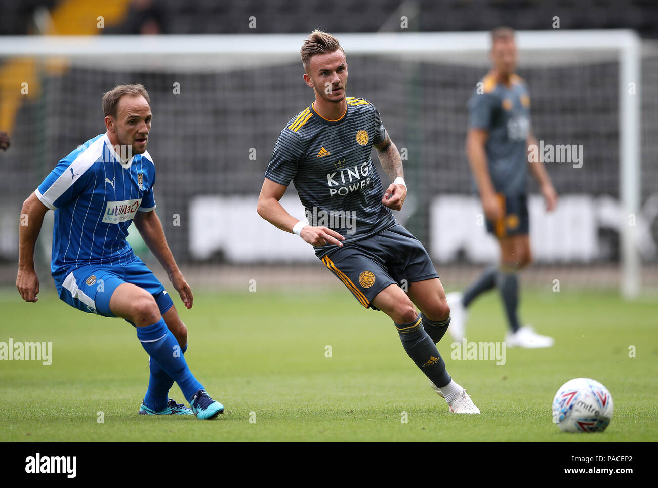 Leicester City's James Maddison (right) and Notts County's David Vaughan in action during a pre season friendly match at Meadow Lane, Nottingham. - Stock Image