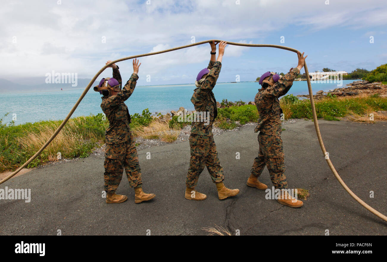 U S  Marines with Marine Wing Support Detachment 24 walk a